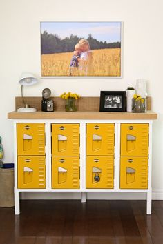 Love this fresh and bright Vintage Locker Console Table! You'll never believe what these looked like BEFORE!