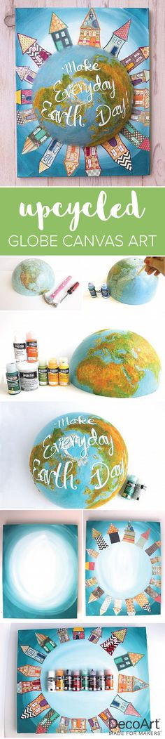 An old globe turns into an Earth Day mixed media project with DecoArt Media®. #decoartprojects