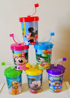 Mickey Mouse Clubhouse Party Favor Cups Personalized With Thanks for coming, Minnie Mouse Birthday Treat Cups Set of 6, BPA Free