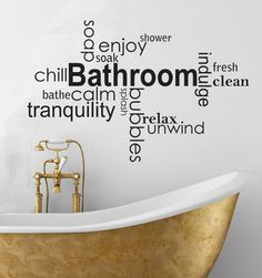 vinyl wall art | Wall Decals - Soothing bathroom Vinyl wall art words -decal sticker ...
