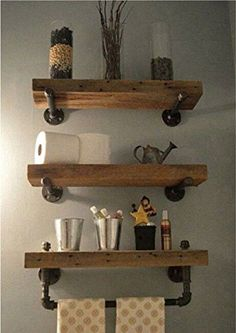 Reclaimed Barn Wood Bathroom Shelves Thanks for looking at this creation! Reclaimed barn wood bathroom shelves made out of salvaged lumber from a Saline Michigan Bathroom Wood Shelves, Decor, Home Diy, Barn Wood Bathroom, Wood Bathroom, Bathroom Decor, Shelves, Home Decor, Reclaimed Barn Wood