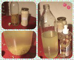 Nettoyer des bouteilles sales avec de l'eau et du riz.