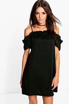 boohoo Fi Ruched Strappy Off Shoulder Shift Dress