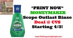 PRINT YOUR COUPON NOW!!!! *PRINT NOW* Moneymaker Scope Outlast Rinse Deal @ CVS ~ Starting 4/3!  Click the link below to get all of the details ► http://www.thecouponingcouple.com/print-now-moneymaker-scope-outlast-rinse-deal-cvs-starting-43/ #Coupons #Couponing #CouponCommunity  Visit us at http://www.thecouponingcouple.com for more great posts!