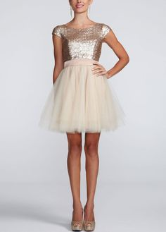 Cap Sleeve Sequin Bodice Dress with Tulle Skirt - David's Bridal