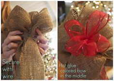 How to make a burlap bow for a Christmas tree topper