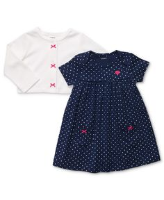 Carter's Baby Set, Baby Girls Two-Piece Polka-Dot Dress and Cardigan - Kids Baby Girl (0-24 months) - Macy's