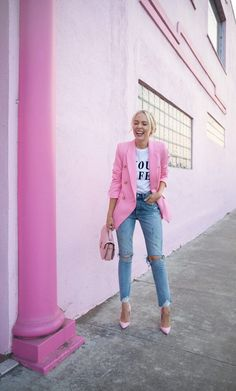 41 Combinations Of Stylish Pink Outfits For Women - Work Outfits Women Pink Outfits, Mode Outfits, Classy Outfits, Stylish Outfits, Best Outfits, Vegas Outfits, Formal Outfits, Popular Outfits, Club Outfits