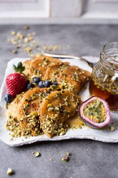 Lemon Ricotta Stuffed Syrian Pancakes with Lavender Passionfruit Syrup
