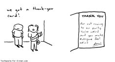 Comic by Toothpaste For Dinner: we got a thank you card