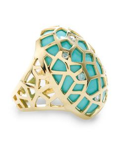 AWESOME RING!!! 18K, turquoise, and diamonds :)
