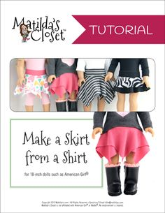 Free 18-inch doll sewing tutorial from Matilda's Closet - Doll Skirt from a Shirt #AmericanGirl #freebie