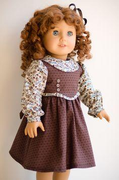 Fall/School Frock American Girl by AnnasGirls Sewing Doll Clothes, Sewing Dolls, Doll Clothes Patterns, Girl Doll Clothes, Clothing Patterns, Girl Dolls, Ag Dolls, Doll Patterns, Kid Clothing