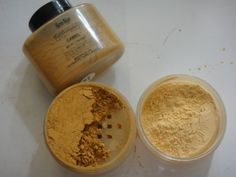 Ben Nye Visage Powder in Camel (left) and Banana (Right). It will work for most complexions but I would not use it for anyone beyond NC 45. Both the Camel and Banana give a golden hue to the skin. The color payoff is good yet sheer enough not to distort the color of your foundation to much