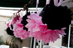 Puff balls hung with ribbon off of tree branches - easy