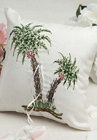 Beautiful Palm Tree Beach Ring Pillow  This fun handmade wedding ring bearer pillow is hand embroidered with green sequin accents. This ring pillow is sure to have a striking effect for your wedding rings during your wedding ceremony.