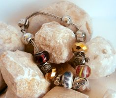 Upcycled Bracelet - Silvertone Large Hole Charms by ReTainReUse on Etsy