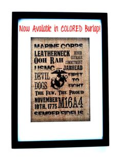 USMC 8x10 Original Tan Burlap Print, Marine Corps, Military, Home Decor, Wall Decor
