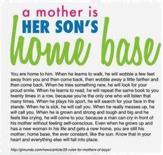 A mother is her son's home base