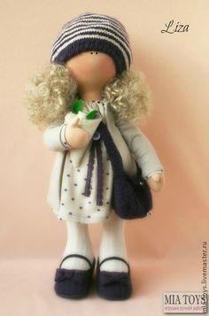 Кукла Лиза - бежевый,сиреневый цвет,кукла ручной работы,игрушка ручной работы