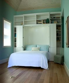 Built in shelves around the bed