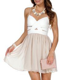 Elly- Ivory/Nude Short Prom Dress