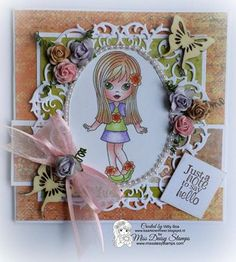 Just a note to say hello!  Such a pretty hello! Thank you Willy http://kaartenenmeer.blogspot.nl/ for your lovely inspiration with Blossom.  Blossom can be found in the shop here http://www.missdaisystamps.com/product/blossom. Happy Stamping! Love, Miss Daisy