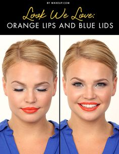 Orange is HOT this fall (and not just in the form of a pumpkin spice latte!), and we've put together a combination of this seasonal color and shades of blue for a gorgeous makeup look! Here's how to do it.