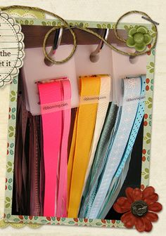 Neat way to store loose ribbon not on spools and it doesn't have wrinkles.  ribbonring.com