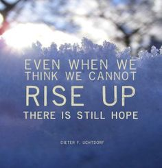 Even when you think we cannot rise up there is still hope (Dieter F. Uchtdorf)