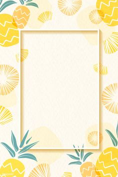 Frame on a pineapple patterned background with design space vector Pineapple Backgrounds, Food Backgrounds, Wallpaper Backgrounds, Iphone Wallpaper, Background Design Vector, Background Templates, Background Patterns, Background Banner, Cadre Photo