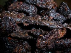 Trail Chef: World's Best Beef Jerky - Whip up a batch of this easy and delicious homemade jerky tonight! - Oven made Whip up a batch of this easy and delicious homemade jerky tonight! Smoker Beef Jerky, Smoker Jerky Recipes, Deer Jerky Recipe, Jerky Marinade, Jerkey Recipes, Best Beef Jerky, Beef Jerkey, Venison Jerky, Homemade Beef Jerky