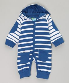 Look at this Blue & White Stripe Sleepsuit on #zulily today!