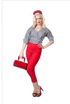 Capri Pants - Red - Stretch cotton Capri pants with zip to side. Cut with a flattering high waist in a comfortable to wear soft stretch fabric. Whether you're going for or clothing, these fabulous capri pants will give you that retro clothing look. Rockabilly Outfits, Retro Outfits, Pin Up Outfits, Retro Pin Up, Pinup Couture, Stretch Fabric, Capri Pants, Vintage Fashion, Glamour