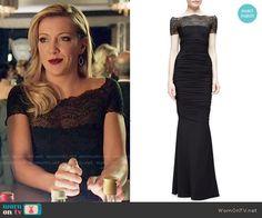 Laurel's black lace-yoke gown on Arrow.  Outfit Details: http://wornontv.net/54150/ #Arrow