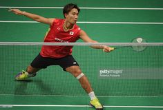 Kento Momota of Japan competes against Martin Giuffre of Canada in the 2015 Total BWF World Championship at Istora Senayan on August 12, 2015 in Jakarta, Indonesia. (1024×698)