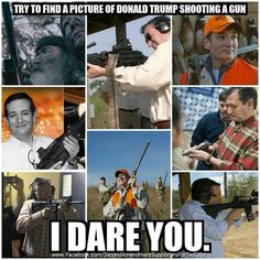 "You won't find any. He talks a good game. He's employing the ""baffle with bullshit"" strategy.  Donald Trump has supported the Clinton assault weapons ban. He has supported mandatory waiting periods to purchase firearms. He is on video saying ""I hate the idea of guns I do not support it (gun ownership)."" After deciding to run for POTUS on the GOP side he discovered that you can't run as a Republican if you support liberal gun control so he has decided to do a complete 180 and claim to be…"