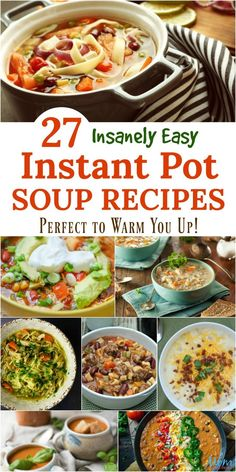 27 Insanely Easy Instant Pot Soup Recipes Perfect to Warm You Up! With the arrival of the Instant Pot, it no longer takes all day! Just take a look at these Insanely Easy Instant Pot Soup Recipes! Instapot Soup Recipes, Low Carb Soup Recipes, Easy Soup Recipes, Cooking Recipes, Keto Recipes, Easy Cooking, Mini Crockpot Recipes, Recipe Lists, Chowder Recipes