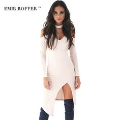 EMIR ROFFER 2017 New Design Asymmetrical Party Night Club Dress Women Sexy V Neck Side Split Casual Solid Long Sleeve Vestidos-in Dresses from Women's Clothing & Accessories on Aliexpress.com | Alibaba Group