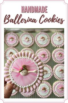 Ballerina Cookies!!! Such a fun idea from a simple scalloped circle cutter. Such a cute idea for a ballerina birthday party! I love these! #etsy #ad #cookies #decoratedcookies