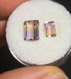 2 Lovely, Faceted Ametrine Gemstones- Vintage Estate Find- 1.90ct.