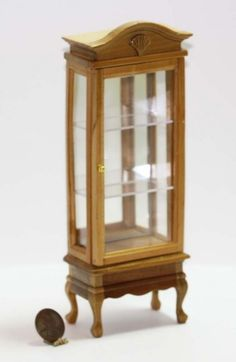 Traditional Natural Wood Mirror Back Display Cabinet