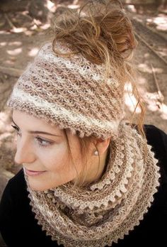 Knitting Pattern for Autumn Dust Messy Bun Hat & Cowl