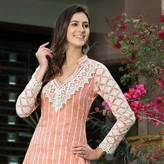 Light Peach Cotton Churidar Kameez Online Shopping: KWM3705