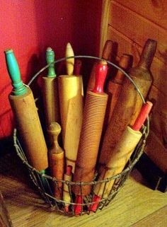 rolling pins-This collection just makes me smile. I have been baking since I was in Elementary school. I have my own collection. I love to see others collections and would love to hear the stories behind them. I know the previous owners of these vintage rolling pins would be delighted to know they are loved and apreciated by their new owner(s)! :)