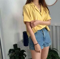 yellow shirt blue denim shorts korean fashion ulzzang 얼짱 summer casual outfits clothes street everyday comfy aesthetic soft minimalistic kawaii cute g e o r g i a n a : c l o t h e s Korean Fashion Trends, Asian Fashion, 90s Fashion, Fashion Outfits, Fashion Ideas, Style Fashion, Korean Fashion Shorts, Art Hoe Fashion, Korean Fashion Summer Casual