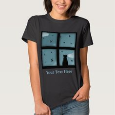 Black Cat Looking Out Window At Heaven T Shirt by nekocreations
