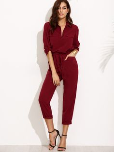 0ea4a264219 Buy Burgundy Tie Waist Pocket Rolled Sleeve Jumpsuit from abaday.com