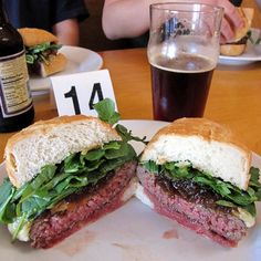 Los Angeles: Father's Office--Signature Burger: The Office Burger (dry-aged beef patty with Gruyere cheese, Maytag blue cheese, arugula & applewood-bacon compote). The 36 craft beers on tap change seasonally.