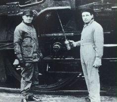 Arthur Honegger maintaining a train.
